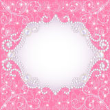 Pink background with pearls, for inviting Stock Images