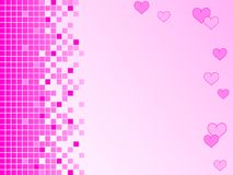 Pink background with pixels and hearts Royalty Free Stock Image