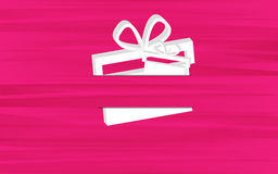 Pink background with presents. Pink unusual background with two white presents Royalty Free Stock Photo