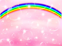 Pink background rainbow bubble Stock Photo