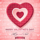 Pink background with  red valentine heart and wish Royalty Free Stock Image