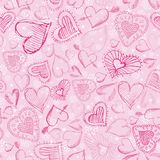 Pink background with scribble hearts,  Stock Photos