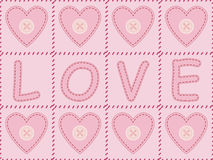 Valentines Day background. Pink background with sewed felt valentines and word love Royalty Free Stock Photos