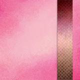 Pink background with side bar ribbon or stripe in gold and burgundy purple with block square texture design Stock Image