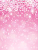 Pink background with snowflakes, vector Stock Images
