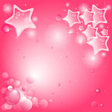 Pink background with stars and bubbles. Pink and white background with stars, bubbles and transparency Stock Image