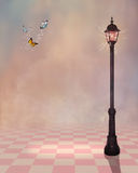 Pink background with a street lamp vector illustration