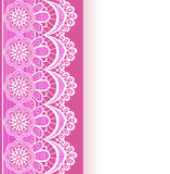Pink background with a strip of lace and place for text Stock Photos