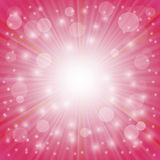 Pink Background. Sun Burst on . Ray Background with Stars Royalty Free Stock Photos