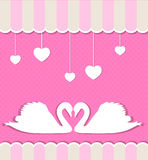 Pink background with swans Stock Photo
