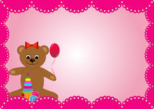 The pink background with a toy bear for a girl's birthday Royalty Free Stock Photos