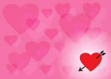 Pink background of transparent hearts and heart with an arrow Stock Photos