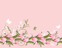 Pink background with tulips. Horizontal pink spring background with tulips and flourishes royalty free illustration