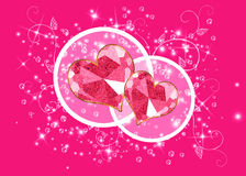 Pink background with two hearts Stock Photos