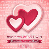 Pink background with  two valentines hearts and wi Stock Photos