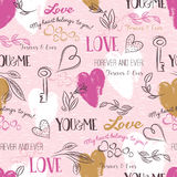 Pink background with  valentine heart , flower, text,  vector Stock Photography