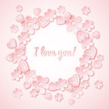 Pink background with  valentine heart, flowers and Royalty Free Stock Photography