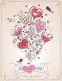 Pink background with valentine heart and spring fl. Owers,  vector illustration Royalty Free Stock Photography