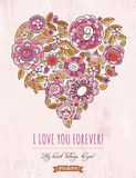 Pink background with valentine heart of spring flo. Wers,  vector illustration Stock Photos