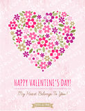 Pink background with valentine heart of spring flowers Royalty Free Stock Image