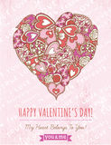 Pink background with valentine heart ,  vector Stock Image