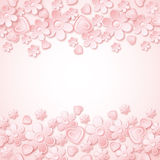 Pink background with valentine hearts and flowers