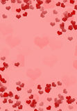 Pink background with volumetric red hearts Royalty Free Stock Photo
