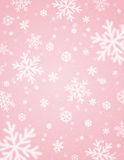 Pink background with white blurred snowflakes, vector royalty free stock images