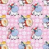 Background with Cute Cows for you Design. Seamless Pattern Stock Images