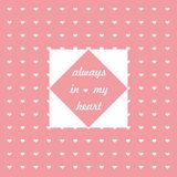 Pink background with white hearts and phrase about love Royalty Free Stock Photo