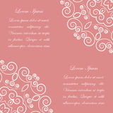 Pink background with white ornate pattern Stock Photo