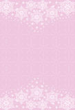 Pink background with white snowflakes. Stock Images