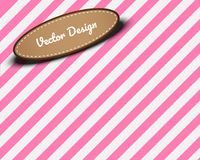 Pink background with white stripes,Leather label with backdrop.C. Opy space of your product.Advertise banner or poster Stock Image