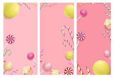 Pink backgrounds with color festive pattern. Pink festive backgrounds with color lollipops, canes and balloons. Vector party illustration stock illustration