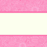 Pink backgrounds with a frame. Ornate floral doodle backgrounds in pink color with an empty frame over it stock illustration