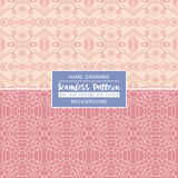 Pink backgrounds with seamless patterns. Ideal for printing. Onto fabric and paper or scrap booking. Vector illustration Stock Illustration
