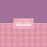 Pink backgrounds with seamless patterns. Ideal for printing. Onto fabric and paper or scrap booking. Vector illustration Royalty Free Stock Photos