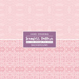 Pink backgrounds with seamless patterns. Ideal for printing. Onto fabric and paper or scrap booking. Vector illustration Royalty Free Stock Photo