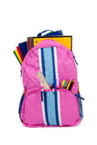 Pink backpack with school supplies Stock Photos