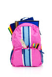 Pink backpack with school supplies Stock Photo