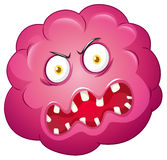 Pink bacteria with ugly face Stock Photography
