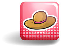 Pink badge with brown hat Stock Photos