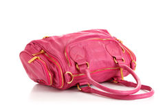 Pink   bag. Pink women bag isolated on white background Royalty Free Stock Image