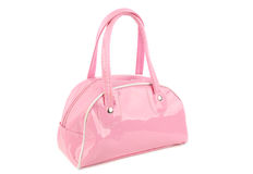 Pink bag. Little pink woman bag isolated on the white background Royalty Free Stock Photo