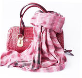 Pink bag made of leather and checkered scarf Royalty Free Stock Photography