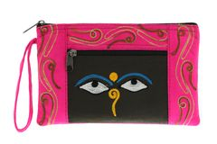 Pink bag with symbol Nepali Buddha Eyes Royalty Free Stock Images