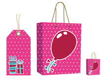 Pink bag and tag set Stock Image