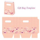 Pink bag template with hearts and dots