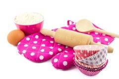Pink baking utensils Royalty Free Stock Images