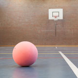 Pink ball on blue court at break time Royalty Free Stock Image